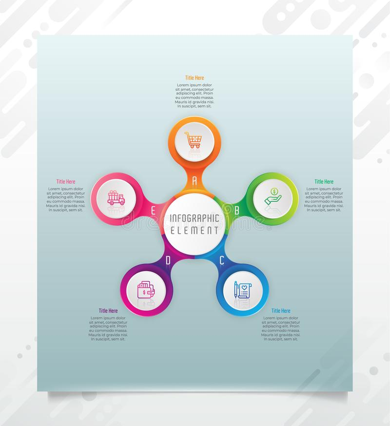 Circle option infographic vector design with 5 options &colorful style for presentation purpose.Modern option infographic can be royalty free illustration
