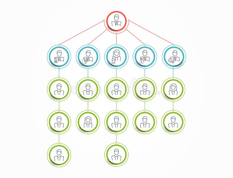 Circle Organization Chart Infographics. Line people Icon. Business Structure. Vector Illustration. vector illustration