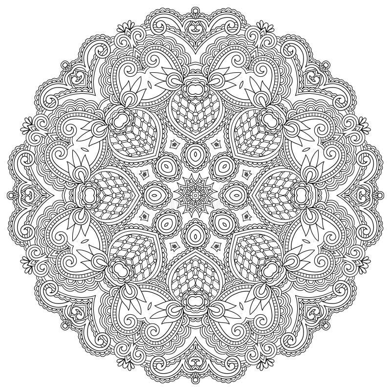 Circle ornament, black and white ornamental round stock illustration