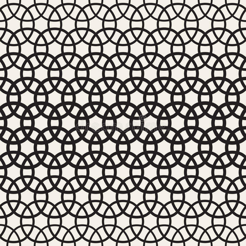 Circle Overlapping Shapes Lattice. Vector Seamless Black and White Pattern. royalty free illustration