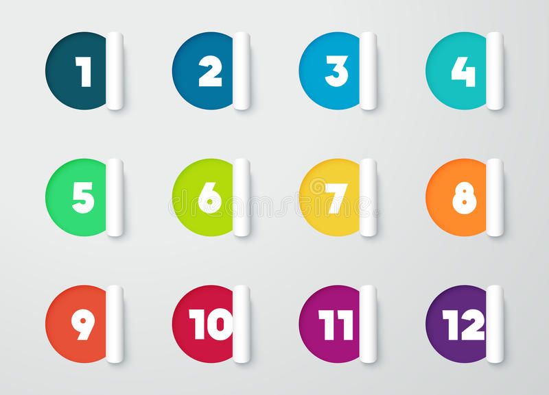 Circle Paper Cut Out Notes With Numbers For Calendar 1 to 12 vector illustration
