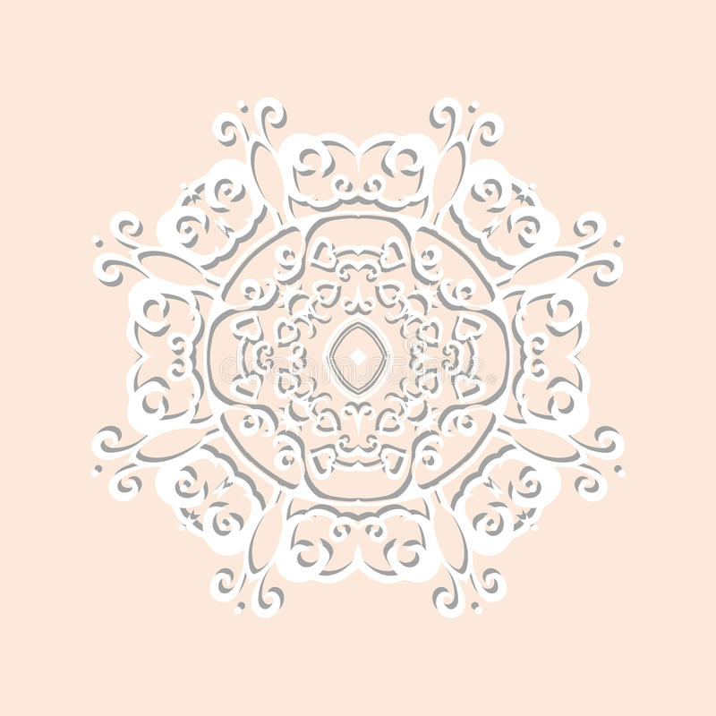 The Circle of paper lace with shadow vector illustration