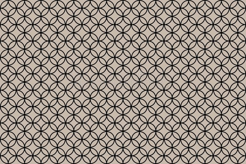 Overlapping circle patterns on brown background stock illustration