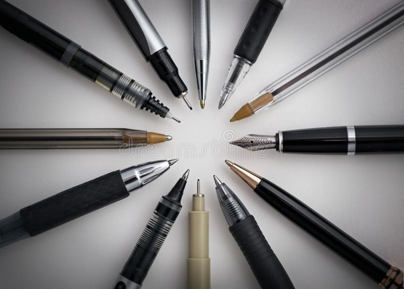 Circle of Pens stock image