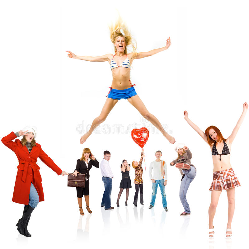 Circle of people stock images