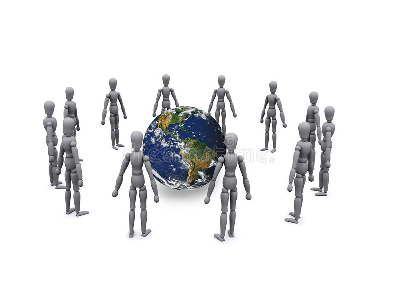 Circle of people. 3d people are standing and forming a circle vector illustration
