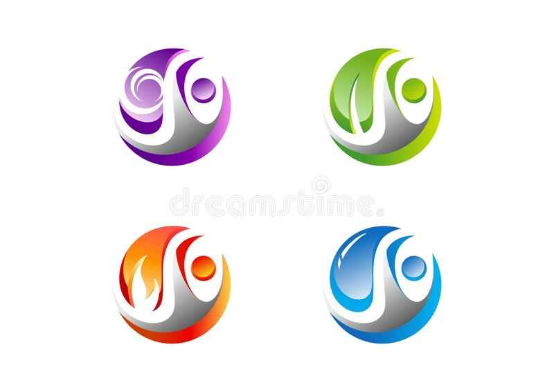 Circle,people,water,wind,flame,leaf,logo, Set of four nature element icon symbol vector design. Circle people elements energy concept logo, Set of four nature stock illustration