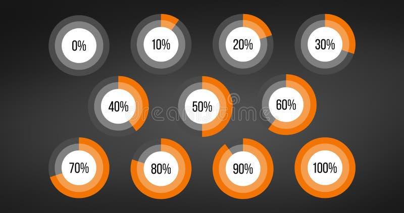 Circle percent Diagram Pie Charts Infographic Elements. Progress Wheel. Vector illustration isolated on black background vector illustration