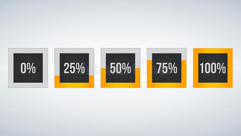 Circle percentage,Performance analysis in percent, square number 0,25,50,75,100, infographic isolated on black background. Circle percentage,Performance analysis vector illustration