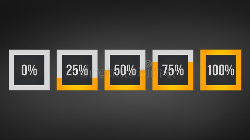circle percentage,Performance analysis in percent, square number 0,25,50,75,100, infographic isolated on black background stock illustration