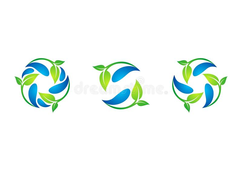 Circle,plant,waterdrop,logo,leaf,spring,recycling,nature,set of round symbol icon design vector. Circle plant and water drop logo,leaf and spring,recycling royalty free illustration