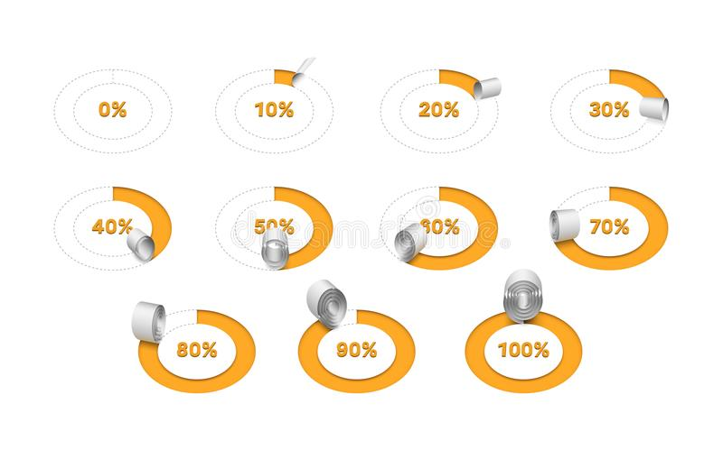Circle progress bar made of cutting out and rolling paper tape. royalty free illustration