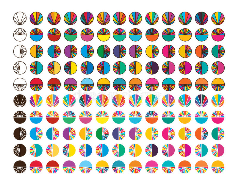 Circle ray slice symmetry colorful set vector illustration