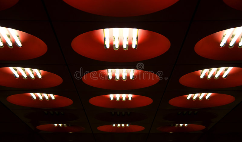 Circle red ceiling lamps stock photos