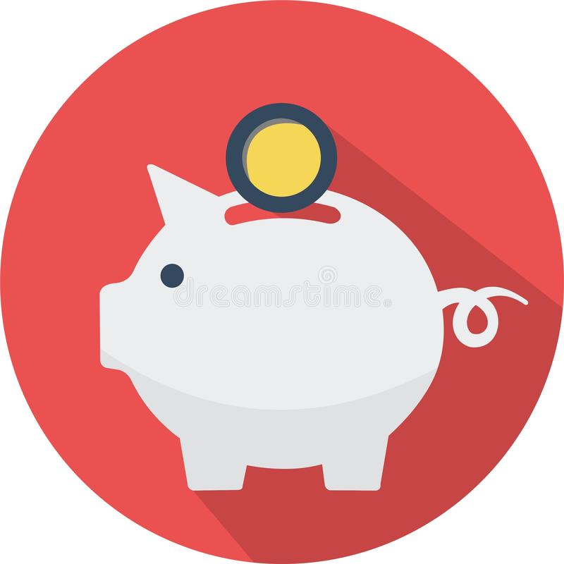 Icon pig money vector illustration. Circle red flat icon money pig illustration vector stock illustration