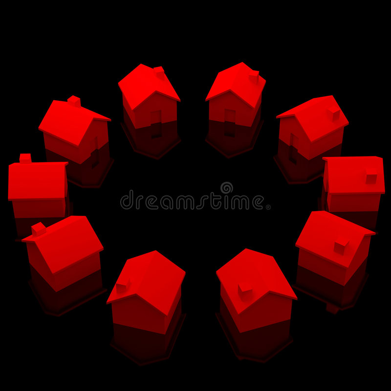 Circle of red houses stock illustration