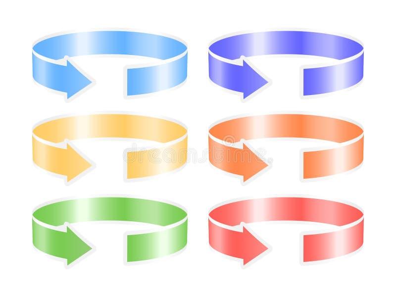Circle ribbon arrows. Set of colorful circle ribbon arrows. Vector illustration royalty free illustration