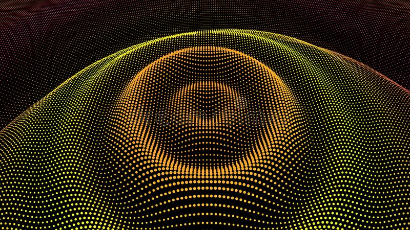 Radial pulse sea. 3D drip drop. Big data grid. Circle ripple effect. Radial pulse surface dimensional wavy. Drip drop to data flow. Surface curl background. Grid vector illustration