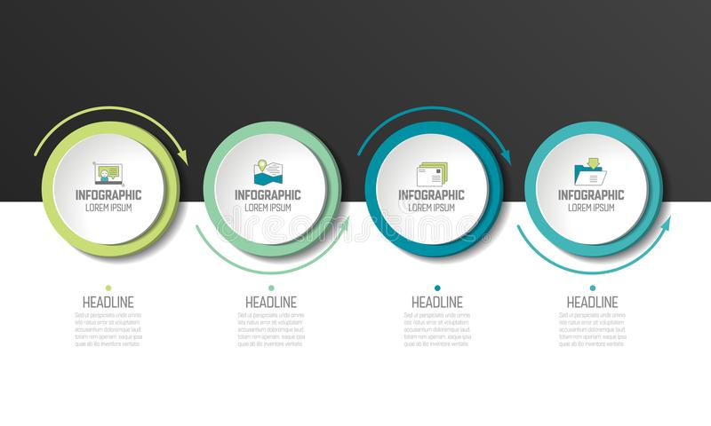 Circle, round chart, scheme, timeline, infographic. Circle or round chart, scheme, timeline, infographic, numbered template or option template. 4 steps royalty free illustration