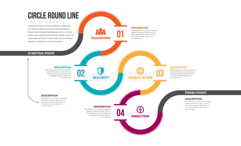 Circle Round Line Infographic. Vector illustration of circle round line infographic design element royalty free illustration