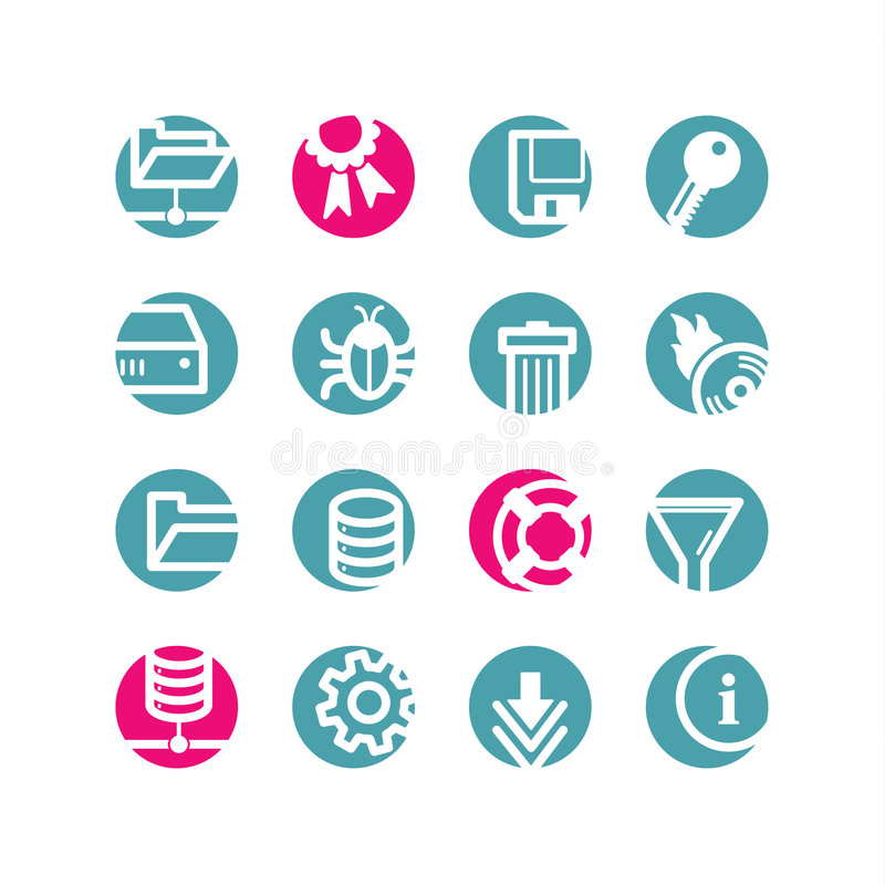 Circle server icons. Blue and pink vector illustration