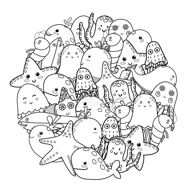Sea Animals Coloring Page Stock Illustrations – 611 Sea Animals Coloring  Page Stock Illustrations, Vectors & Clipart - Dreamstime