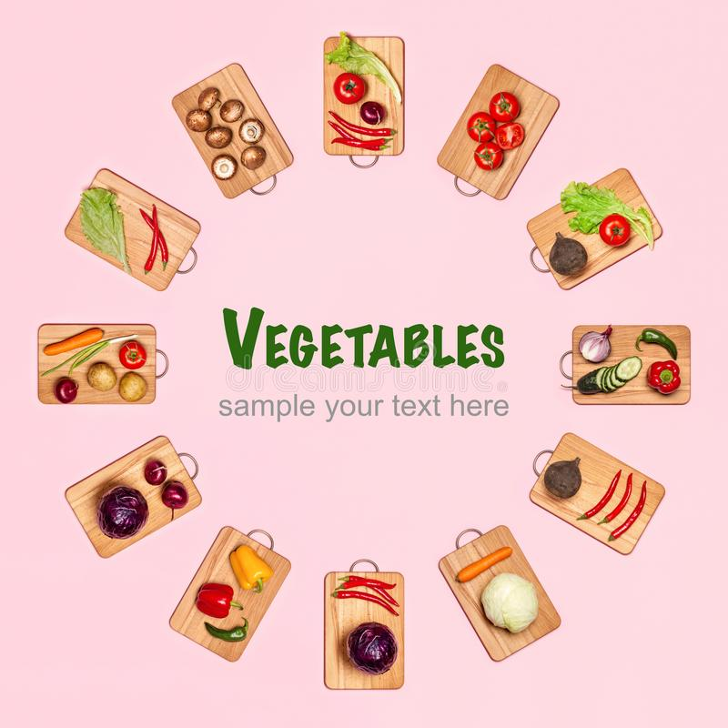 Circle shape from fresh vegetables stock image