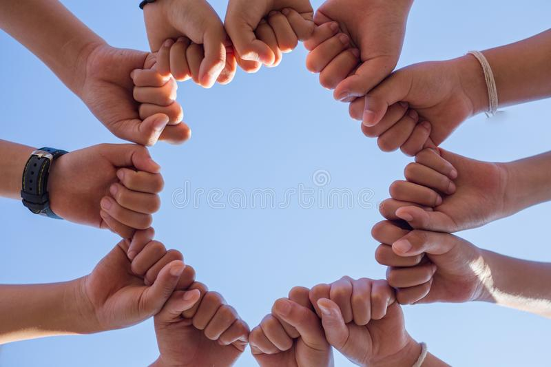 Circle shape hand of team showing unity and teamwork stock photos