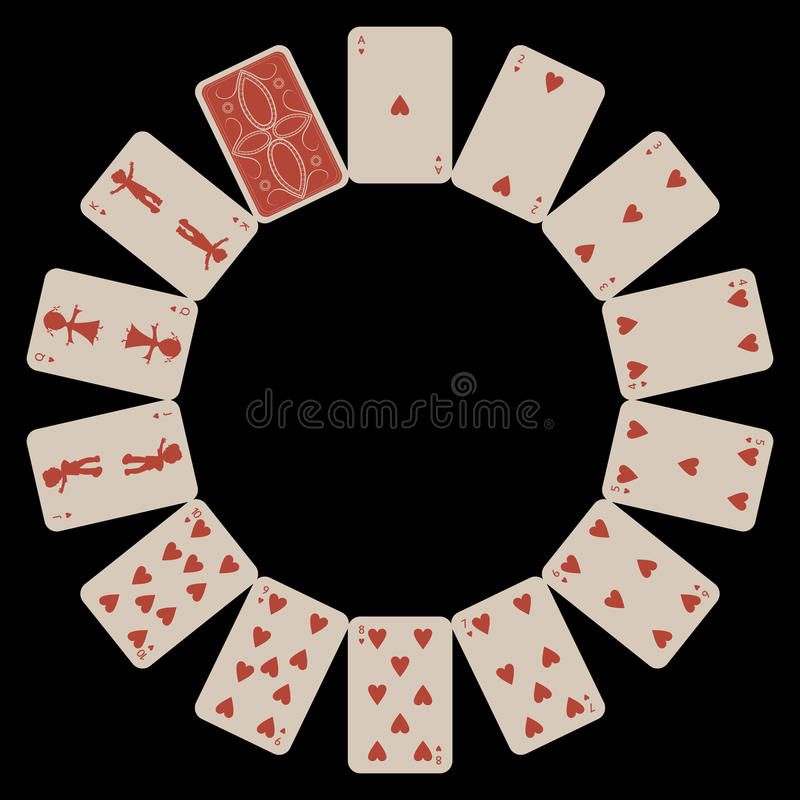 Circle Shape Hearts Playing Cards On Black Royalty Free Stock Photo
