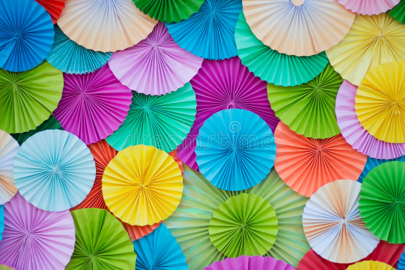 Circle shape of origami colors papers. royalty free stock photos