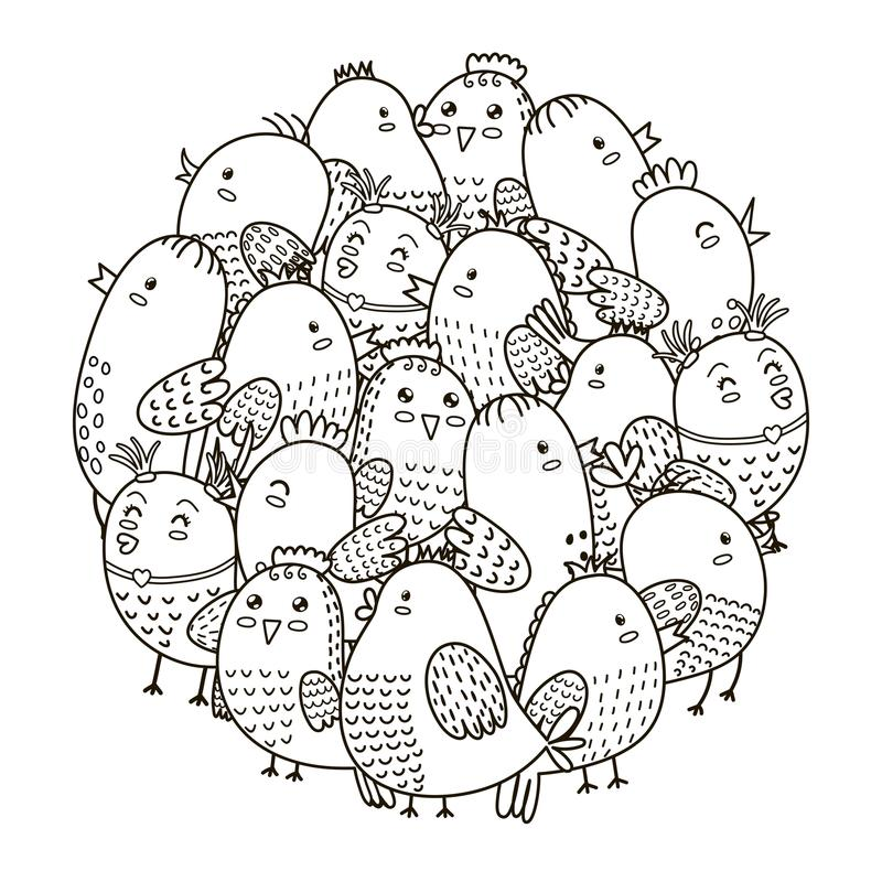 circle shape pattern with cute birds for coloring book stock - Charley Harper Coloring Book