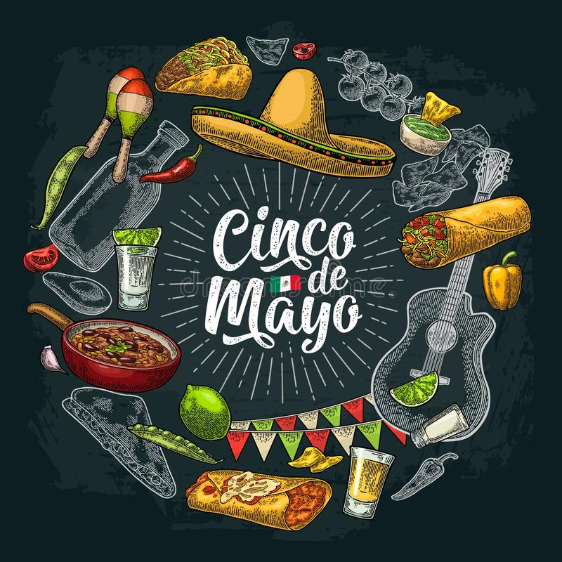 Circle shape set mexican food engraving. Cinco de Mayo lettering royalty free illustration