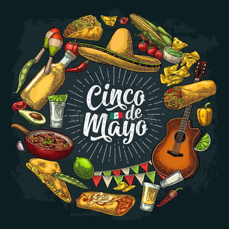 Circle shape set mexican food engraving. Cinco de Mayo lettering. Circle shape set with mexican traditional food with Guacamole, Quesadilla, Enchilada, Burrito vector illustration