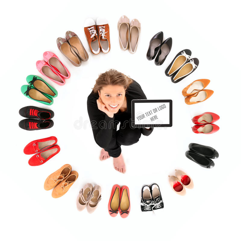 Circle of shoes royalty free stock photography