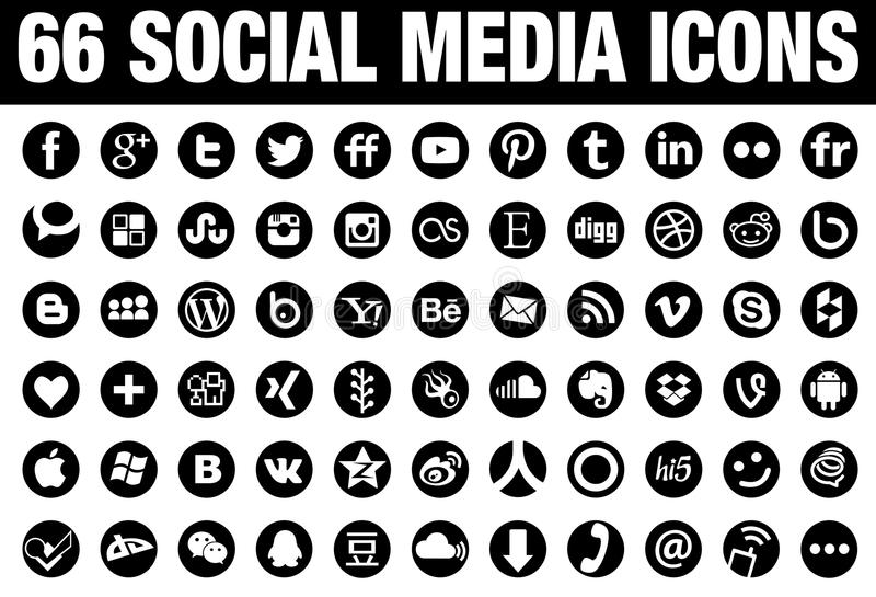 Download 66 Circle Social Media Icons Black Editorial Stock Image - Image: 57115734