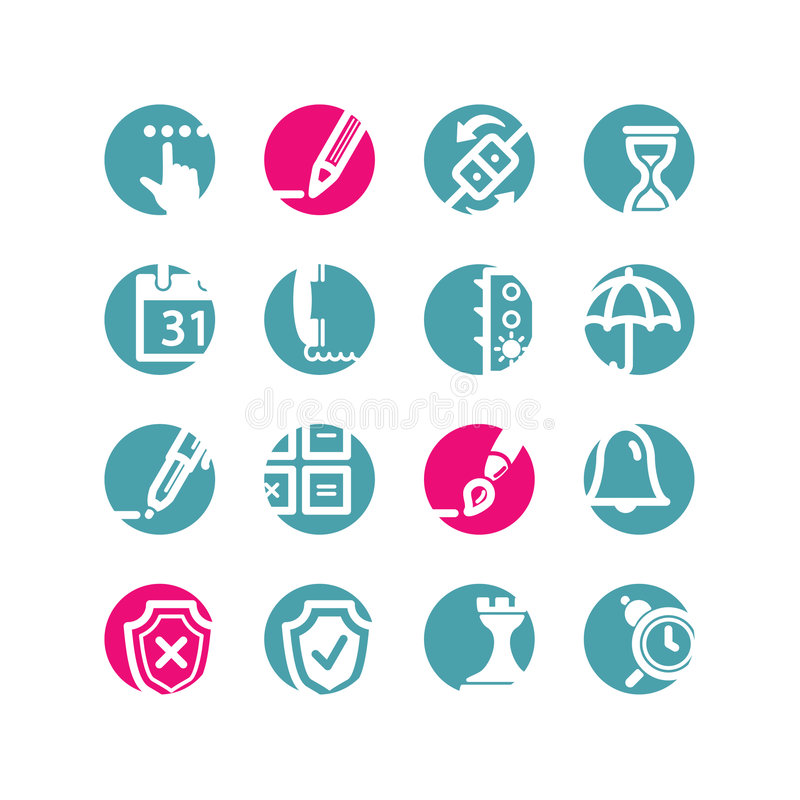 Circle software icons. Blue; pink stock illustration