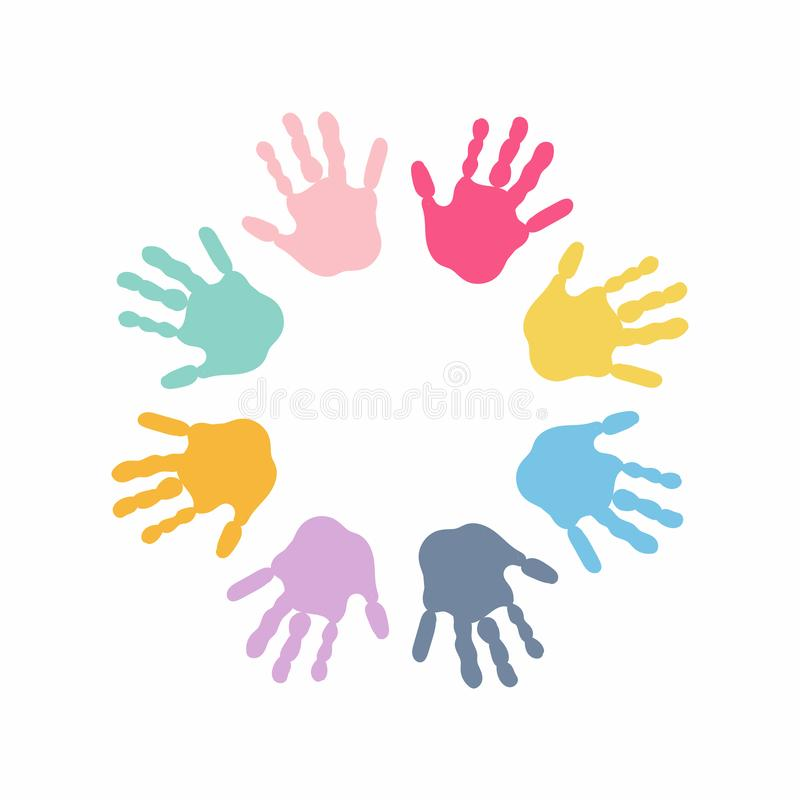 Circle spiral of colorful hand prints made by children isolated on white background. vector illustration