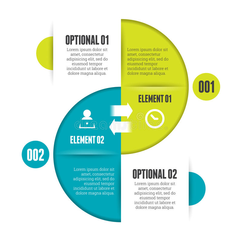 Circle Split Infographic. Vector illustration of circle split infographic design element royalty free illustration