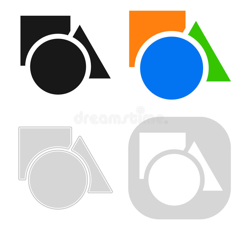 Circle, square, triangle icon in 4 version - Basic shapes icon, royalty free illustration
