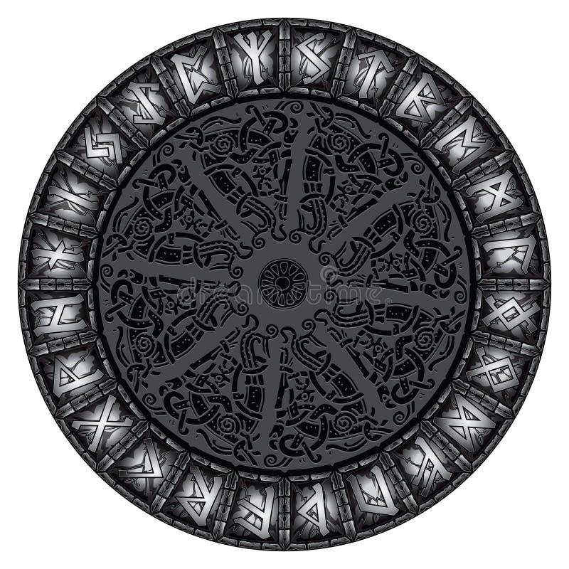 Circle of stone shining Scandinavian runes. Isolated on white, vector illustration royalty free illustration