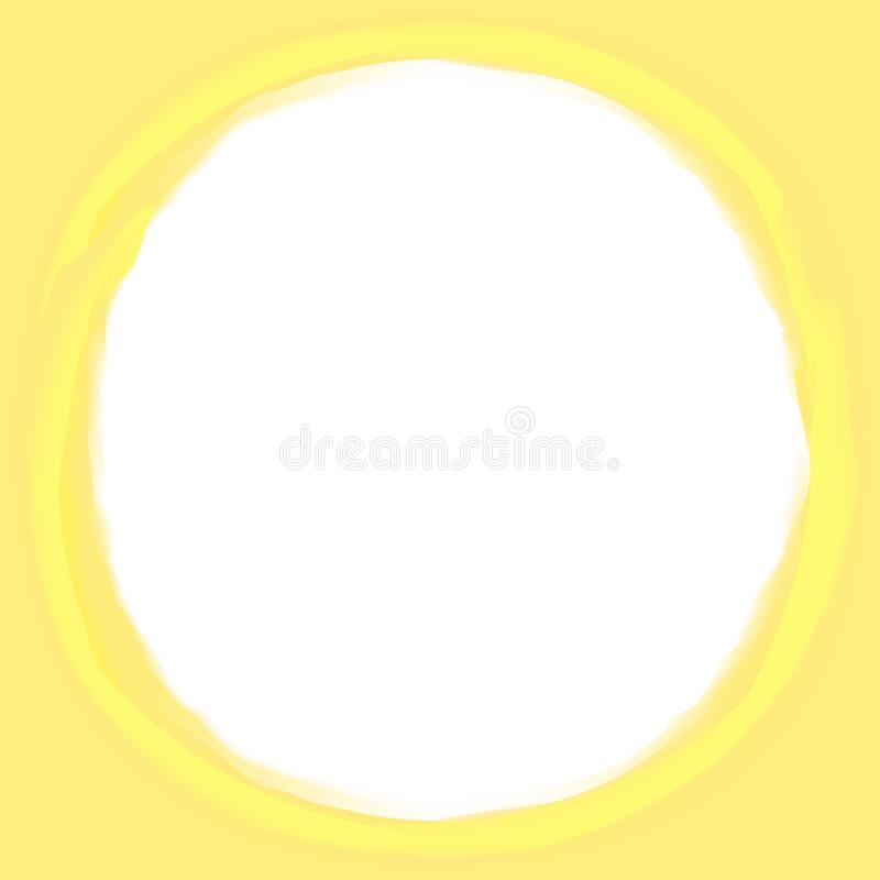 Circle stroke art line yellow colors pastel soft background and white copy space, oval line yellow water color art style stock illustration