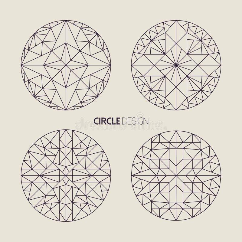 Circle symbol set in line art geometry style vector illustration