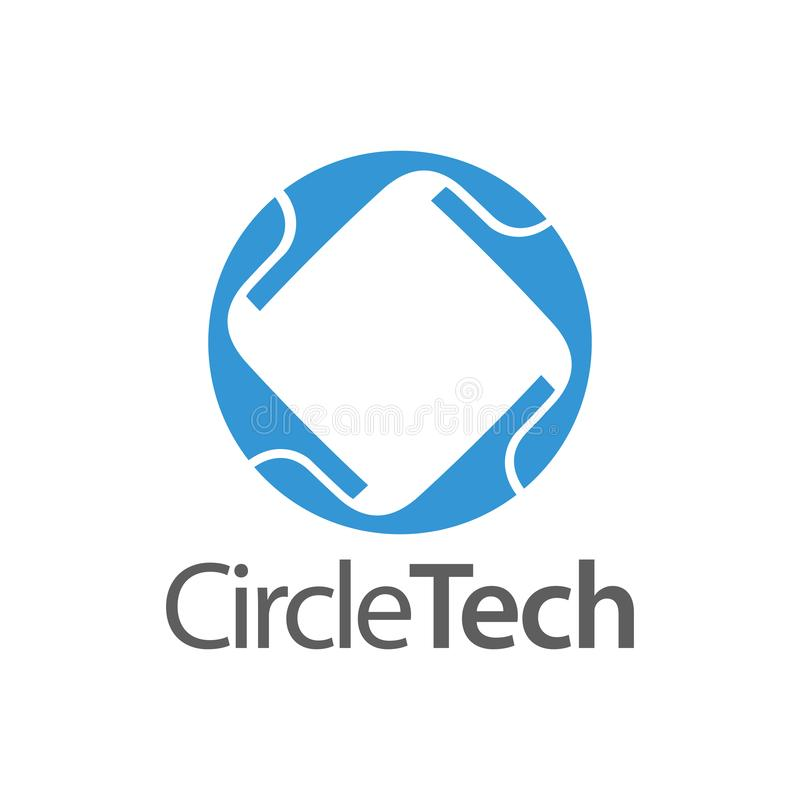Circle technology with square inside logo concept design template stock illustration