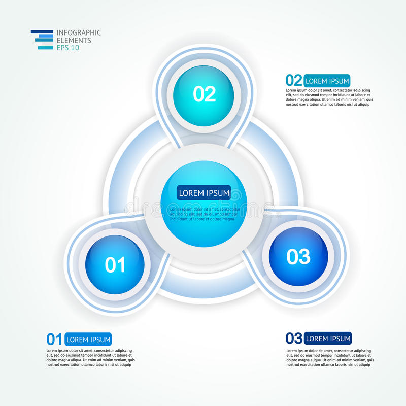 Circle three steps infographic design template for statistics. Analytics, marketing reports, presentation and web design in blue colors. Vector illustration royalty free illustration