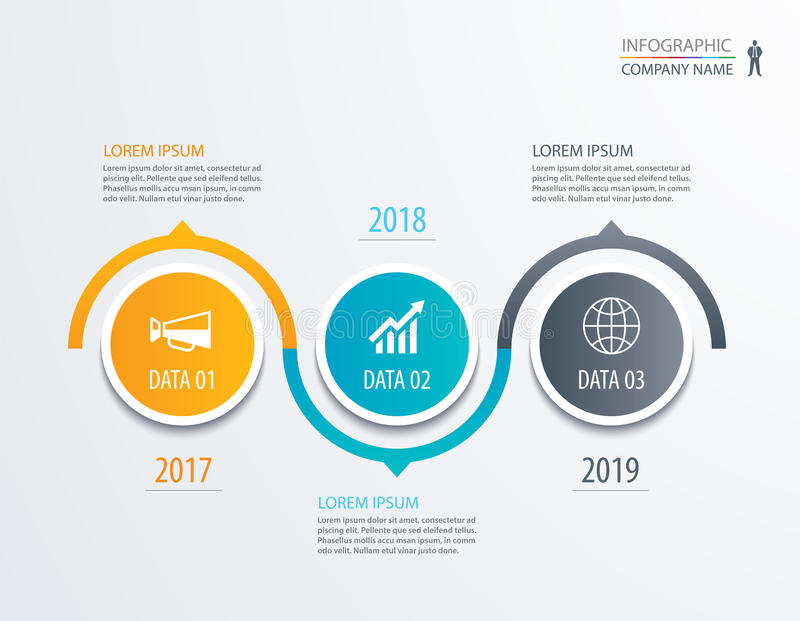 3 circle timeline infographic template business concept background. Vector can be used for workflow layout, diagram, number step. Up options, web design ,annual vector illustration