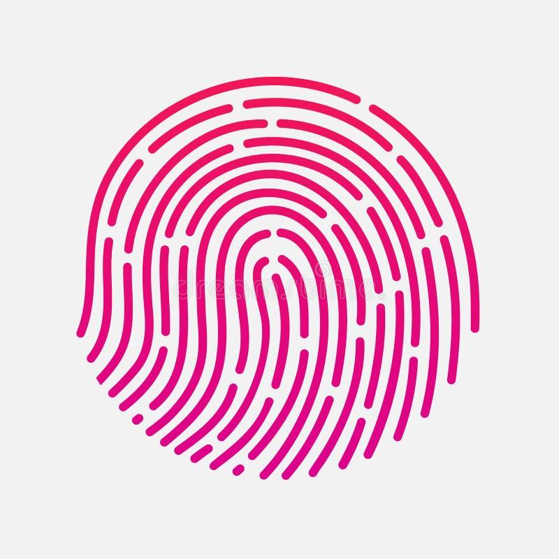 Circle touch fingerprint id app vector illustration. Isolated royalty free illustration