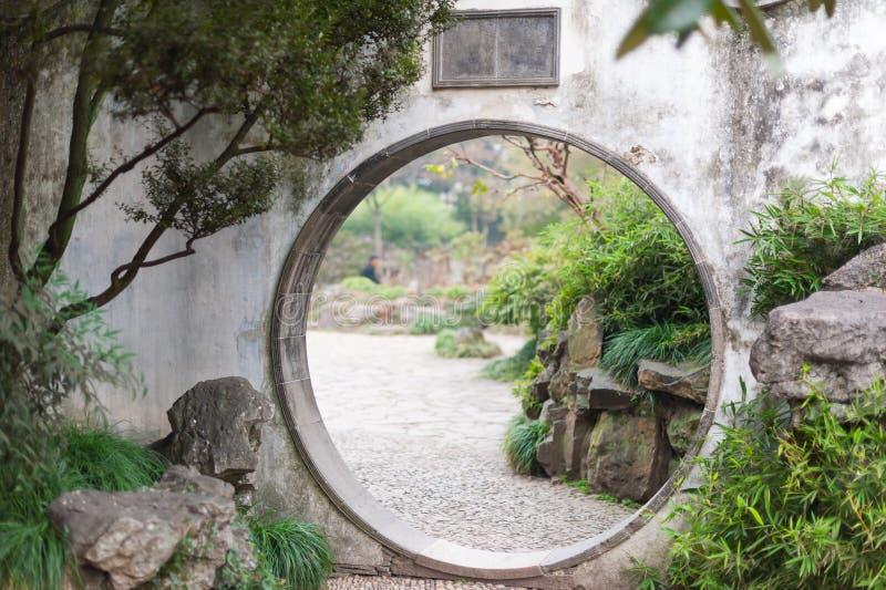 Circle traditional door in Zhuozhengyuan park - Suzhou. Circle traditional door in Zhuozhengyuan park, Suzhou, China stock photography