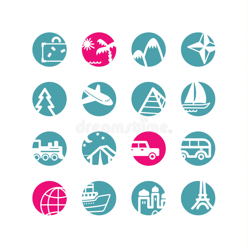 Circle travel icons vector illustration