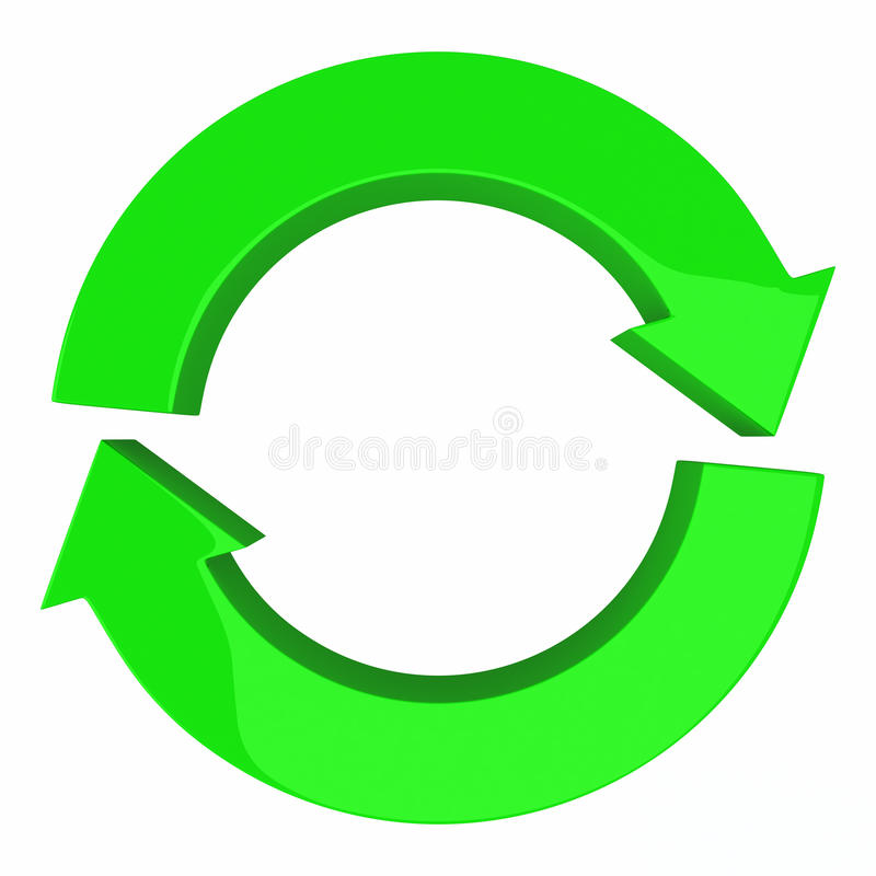 Circle of two arrows, 3d. Green circle of two arrows, symbol of recycle, refresh and reload, 3d illustration stock illustration