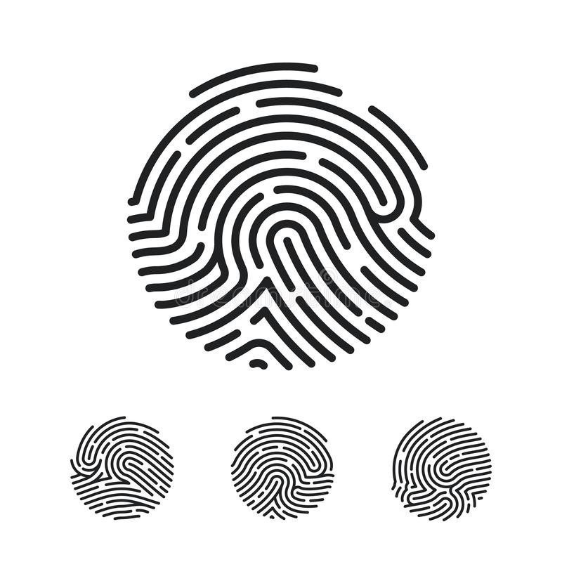 Circle Unique Fingerprint icon design for app. Finger print flat scan. Vector illustration isolated on white background royalty free illustration